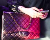 bag,chanel,chanel bag,chain,handbag,ombre,pink,purple