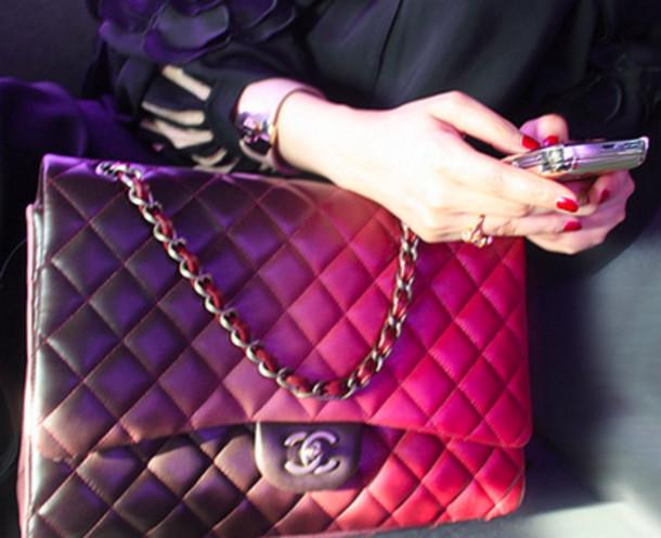 bag chanel chanel bag chain handbag ombre pink purple 5238bd3cd0efd