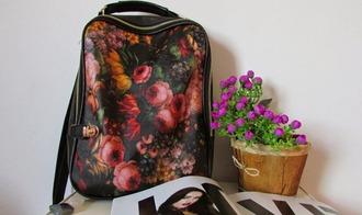 bag backpack floral bag backpack school fashion bags roses hipster hipster wishlist