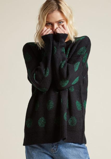 WI17MAC08 sweater jumper black sweater metallic shiny cozy black green