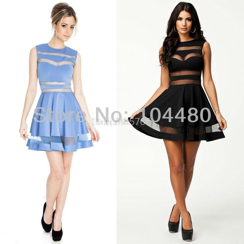 M L plus size new design fashion 2014 women sleeveless open back sexy mesh patchwork tunic A line evening party dress Black Blue-in Apparel & Accessories on Aliexpress.com