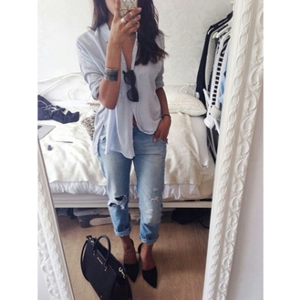 blouse boyfriend jeans sunglasses jewels bag casual fashion inspo style streetlook streetwear streetstyle on point on point clothing jeans