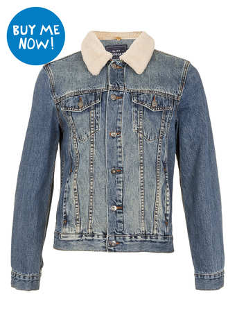 DENIM JACKET WITH DETACHABLE BORG COLLAR - Best Sellers  - Clothing  - TOPMAN