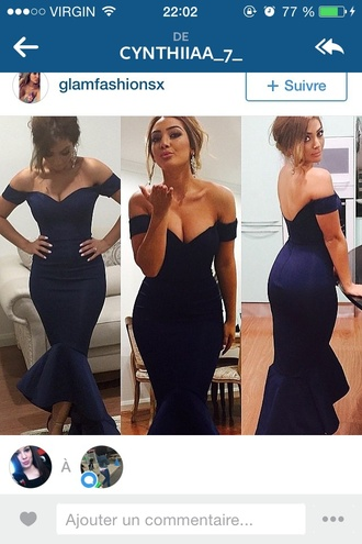 dress blue dress blue prom dress prom asymmetrical dress elegant elegant dress evening dress beautiful navy dress boob tube navy fishtail fishtail dress peplum bodycon bardot dress