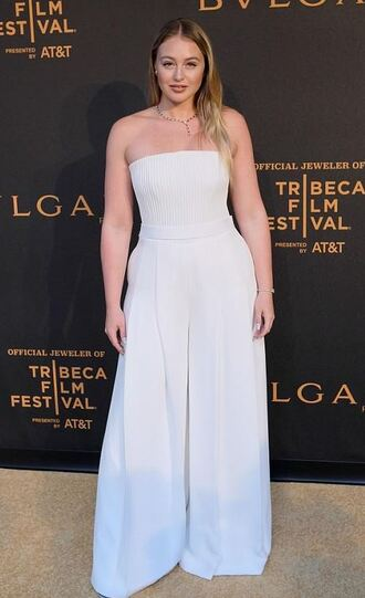 jumpsuit white white top white pants wide-leg pants iskra lawrence plus size curvy
