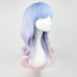 Sweet lolita blue and pink mixed color 55cm wave wig