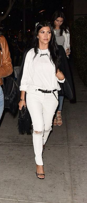 jeans white white jeans kourtney kardashian blouse sandals shoes top