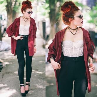 jacket fashion style lehappy bordeaux grunge jacket