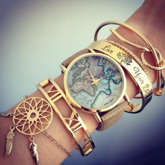 jewels watch bracelets numeral map print map watch dreamcatcher stacked bracelets