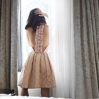 dress tumblr pink dress mini dress open back dresses open back backless backless dress bow dress bridesmaid wedding clothes