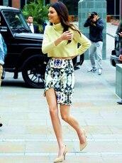 skirt,blue,print,bodycon,printed skirt,kendall jenner