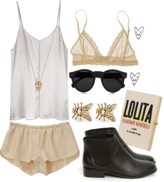 shorts clothes silk gold skull top cami shoes boot low book pretty sunglasses bra lace brandy melville tank top
