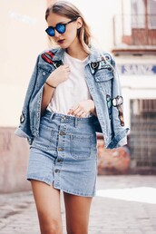 jacket,tumblr,denim jacket,blue jacket,patched denim,patch,t-shirt,white t-shirt,denim skirt,skirt,mini skirt,button up,button up denim skirt,button up skirt,sunglasses,mirrored sunglasses,embellished denim,blue sunglasses