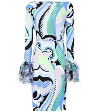 dress jersey dress silk blue