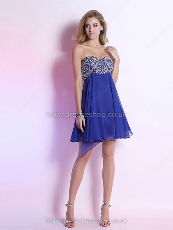 dress empire sweetheart dress chiffon mini dress short prom dress rhinestones