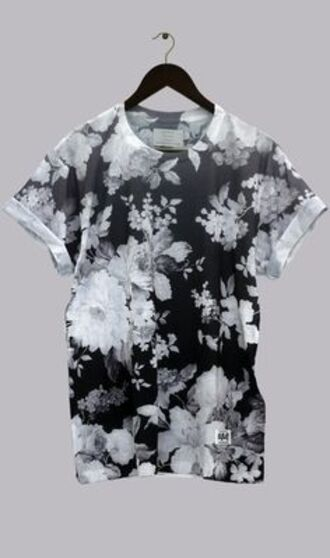 shirt floral t shirt black and white shirt tee