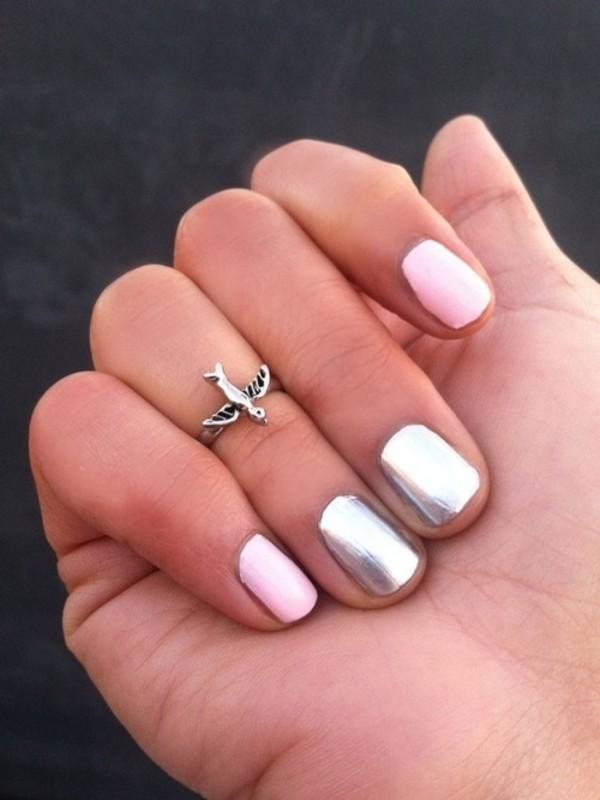 jewels ring knuckle ring jelwery nail polish nailvarnish nails silver
