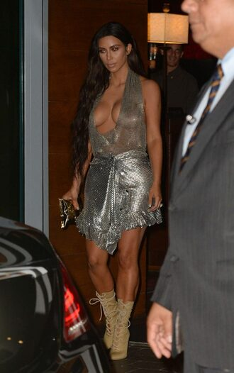 skirt top silver metallic kim kardashian kardashians boots mini skirt