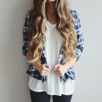 shirt button up shirt blue shirt flanel shirt white top girly girl jeans outfit idea