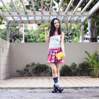 pupuren blogger skirt socks colorful