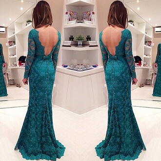 elegant open back fashion trendy prom gown lace turquoise dress dressofgirl