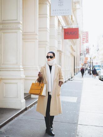 coat tumblr nude coat scarf knit sunglasses bag yellow yellow bag boots flat boots