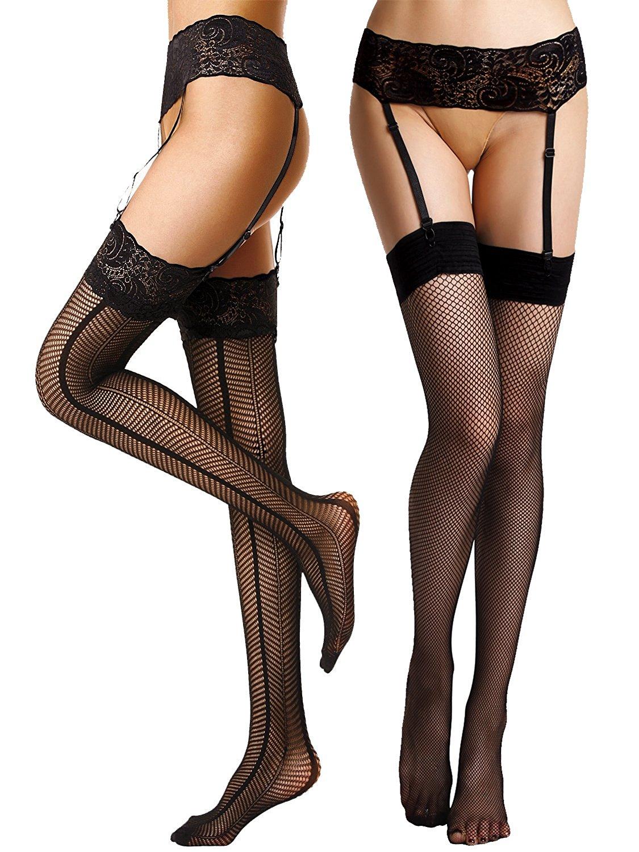 Begirlly Womens Sexy Sheer Suspender Seamed Tights Garter Belt ... d288154f9