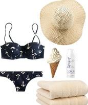 swimwear,bikini,tumblr bikini,navy,blue,ancor,hat