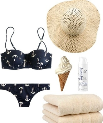 swimwear bikini tumblr bikini navy blue ancor hat