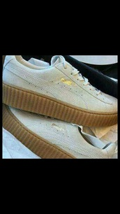 shoes,tan,grey,puma,sneakers,swag