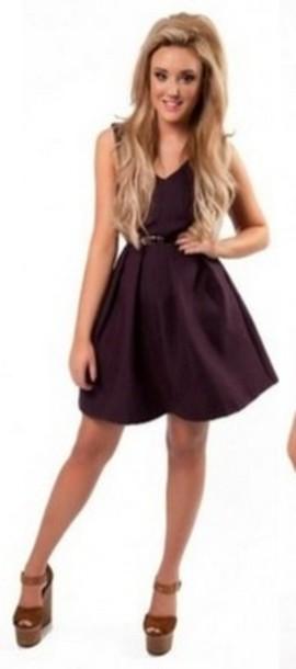 4a35e7894d2b dress skater dress skaterdress belt burgundy purple red pretty black belt  wine purple dress wine dress