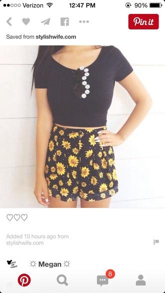 shorts high waisted shorts sunflower