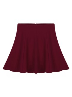 Wine red flounce skater skirt