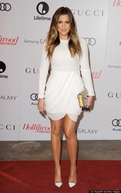 dress,white,shoes,gucci,red carpet,hollywood,khloe kardashian,white dress,cream dress,wrap over dress