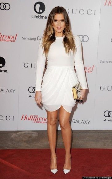 white dress cream dress khloe kardashian wrap over dress dress white, celebrity, gucci, red carpet, hollywood, khloe kardashian shoes