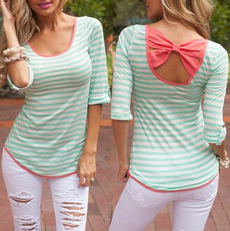 top pretty pink green white stripes bow girly
