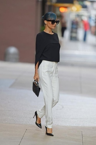 nicole richie blouse white trousers