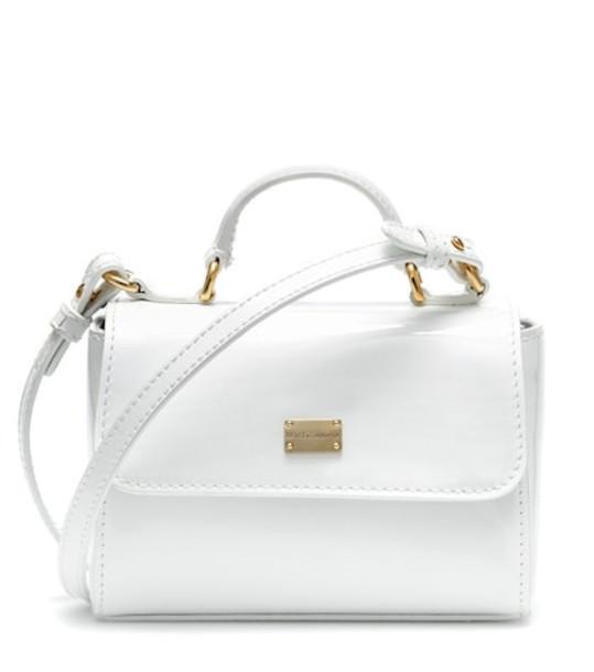 Dolce & Gabbana Kids Patent leather handbag in white