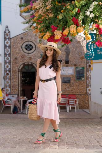 dress hat tumblr asymmetrical pink dress midi dress vacation outfits vacation dresses vacation sandals sandals flat sandals bag woven bag sun hat shoes belt