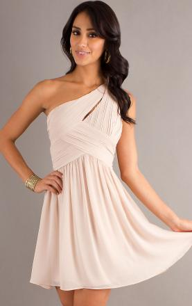 Chiffon Sheath/Column One Shoulder Natural Waist Short Prom Dress Online|KissyDress UK