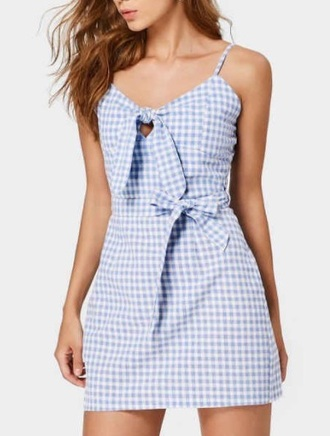 dress bow girly blue blue dress plaid