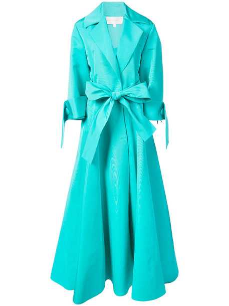 Christian Siriano gown long women blue silk dress