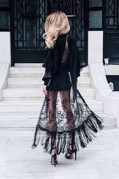 dress,black,lace,shirt,lace dress,black lace dress,velvet,cute,sexy,prom,chic,sexy dress,see through dress,modern,celebrity style,gown,designer,sweater,elegant dress,skirt,sheer,cardigan,kimono,fringe kimono,lace kimono,style,see through,pattern,fashion,women,high heels,maxi,coat,kamino,detailed,long,black dress,blouse,black lace,fringes,black kimono