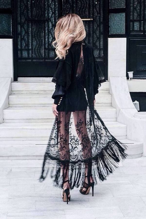 dress black lace shirt black lace dress sweater lace dress elegant dress skirt sheer cardigan style modern sexy dress fashion women high heels kimono coat kamino detailed long black dress fringe kimono blouse black lace lace kimono black kimono maxi dress see through dress