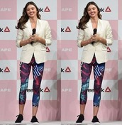 leggings,miranda kerr,blazer,top,sneakers,jacket,shoes