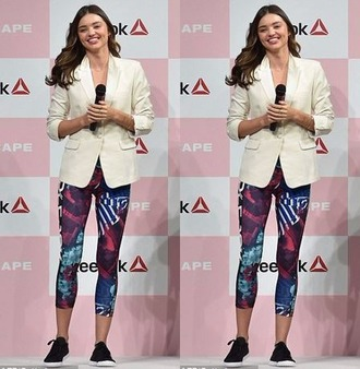 leggings miranda kerr blazer top sneakers jacket shoes