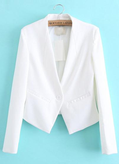 White contrast pu leather pockets crop blazer