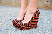 shoes,heels,pattern,orange,pink,zig zag,print,wedges,aztec,stripes,geometric,high heels