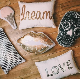 home accessory love pillow hipster gold lips