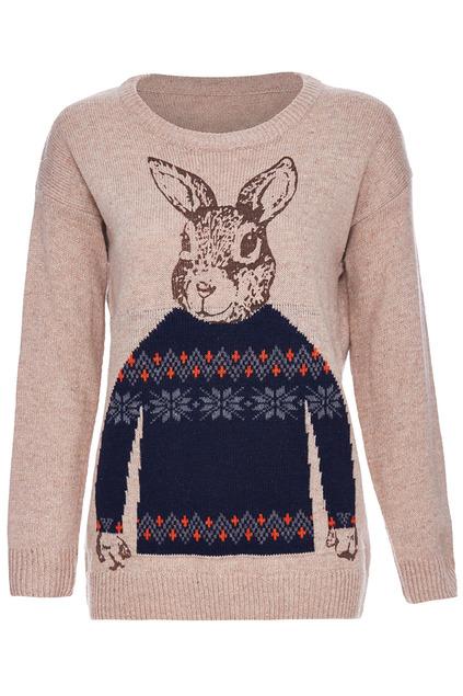 Romwe rabbit & snowflake knitted long sleeves khaki jumper